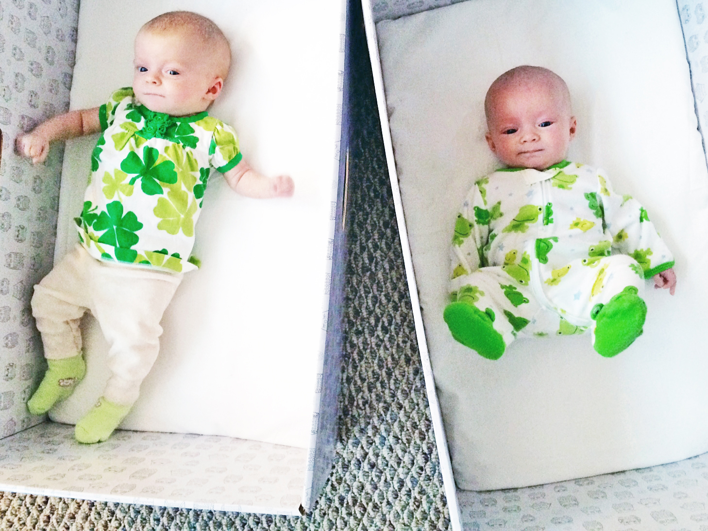 Twins celebrate St. Patrick's Day in the Baby Box.  Image credit: The Baby Box Company.
