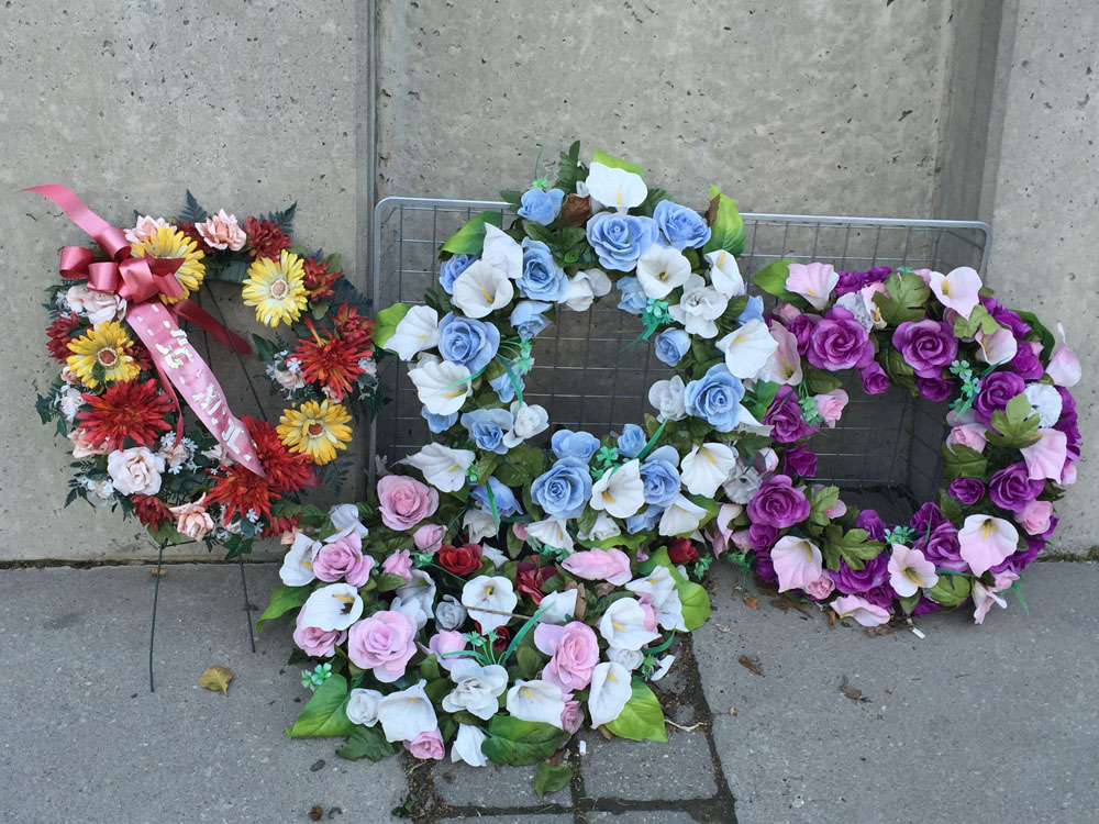 Wreaths at the Chinese Railroad Workers Monument in Toronto CITYNEWS/Diana Pereira