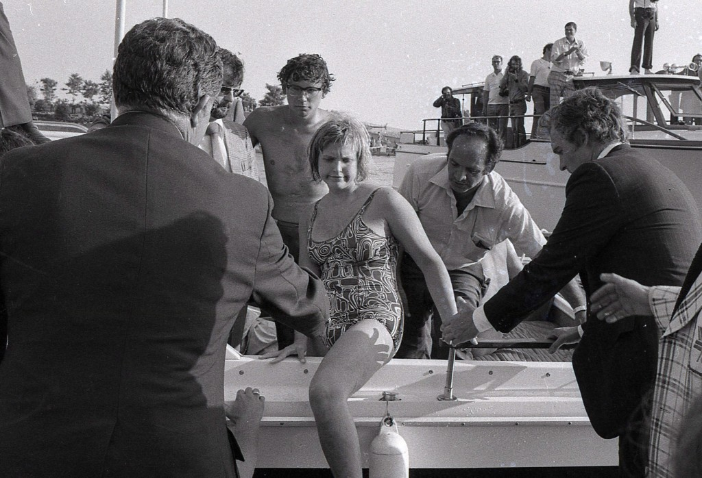 With many hands extended to help her out, 16-year-old Cindy Nicholas, centre, steps out of the boat at the end of her 32-mile swim across Lake Ontario, in Toronto on August 16, 1974. Nicholas, one of the greats of marathon swimming who was once known as Queen of the Channel, has died from liver failure. She was 58. The Toronto athlete, who became a lawyer and served as a Liberal member of the Ontario legislature from 1987 to 1990, was best known for her record-setting solo crossings of the English Channel in the 1970s and 1980s. THE CANADIAN PRESS/Staff