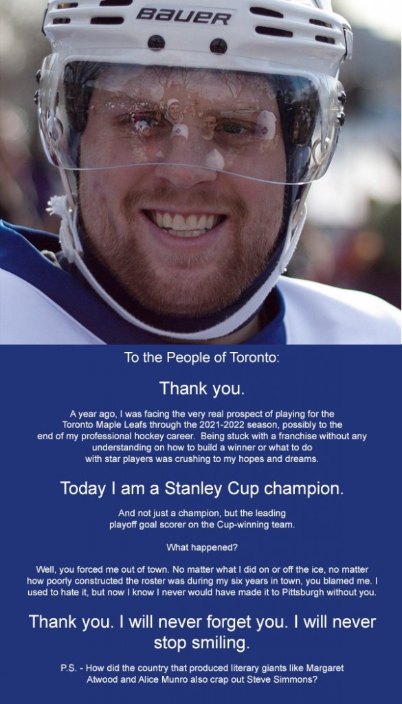 Phil Kessel post large ad thanking Toronot fans for driving him out of town. Photo via Sports Pickle, Medium.