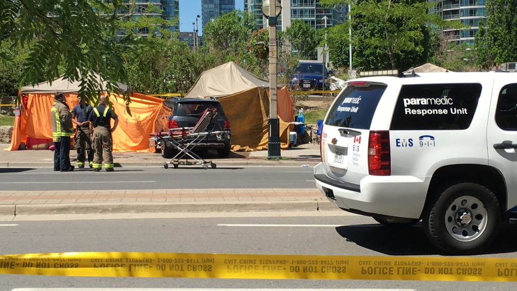 A woman was struck and killed by a vehicle near Bremner Boulevard and Spadina Avenue on June 14, 2016. Photo by Ryan Kelly