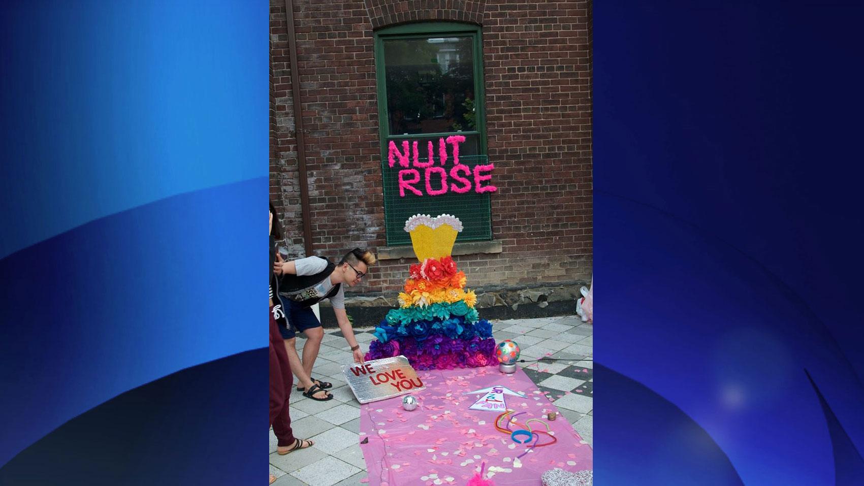 An art installation at Nuit Rose in 2015. Photo via Facebook.com/nuitrosetoronto