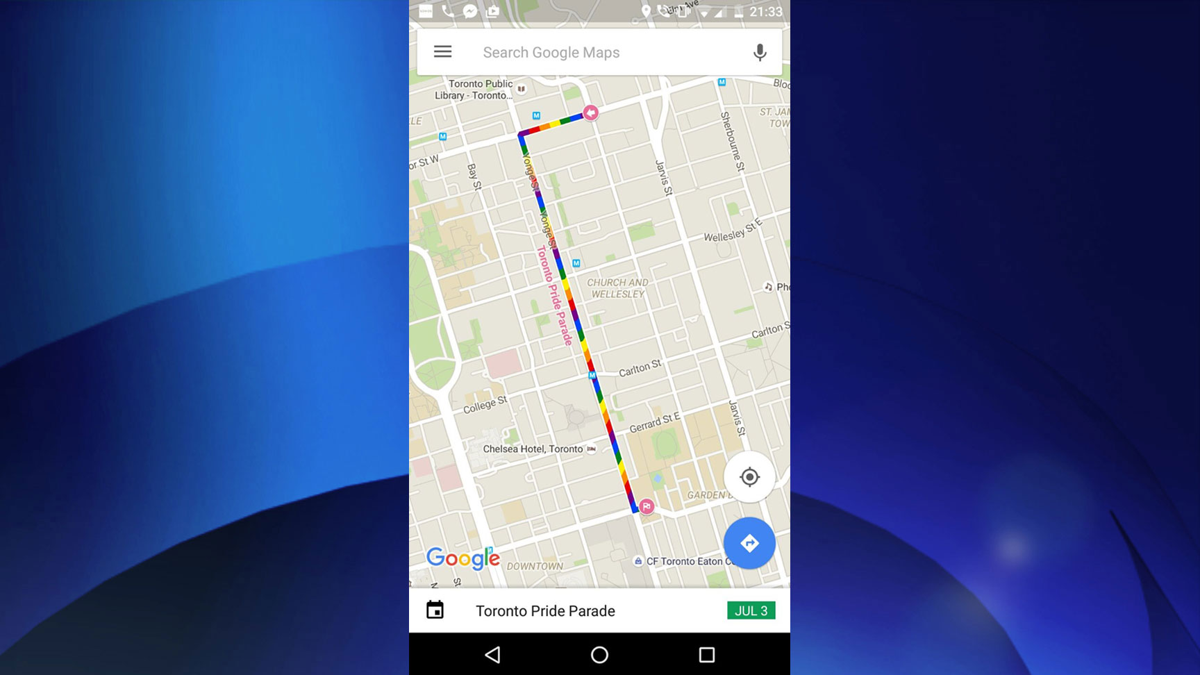 The route for the 2016 Pride Parade in Toronto. GOOGLE MAPS