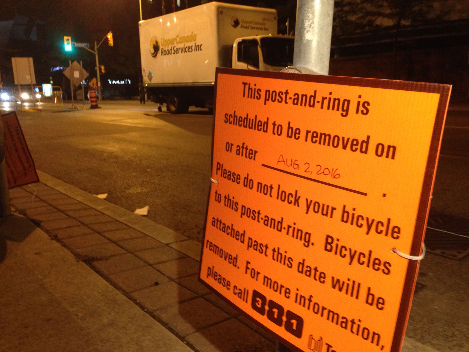 A sign indicating that bicycles won't be able to lock their vehicles during the bike lane construction on Bloor Street West. The work started on Aug. 2, 2016. CITYNEWS/Bertram Dandy