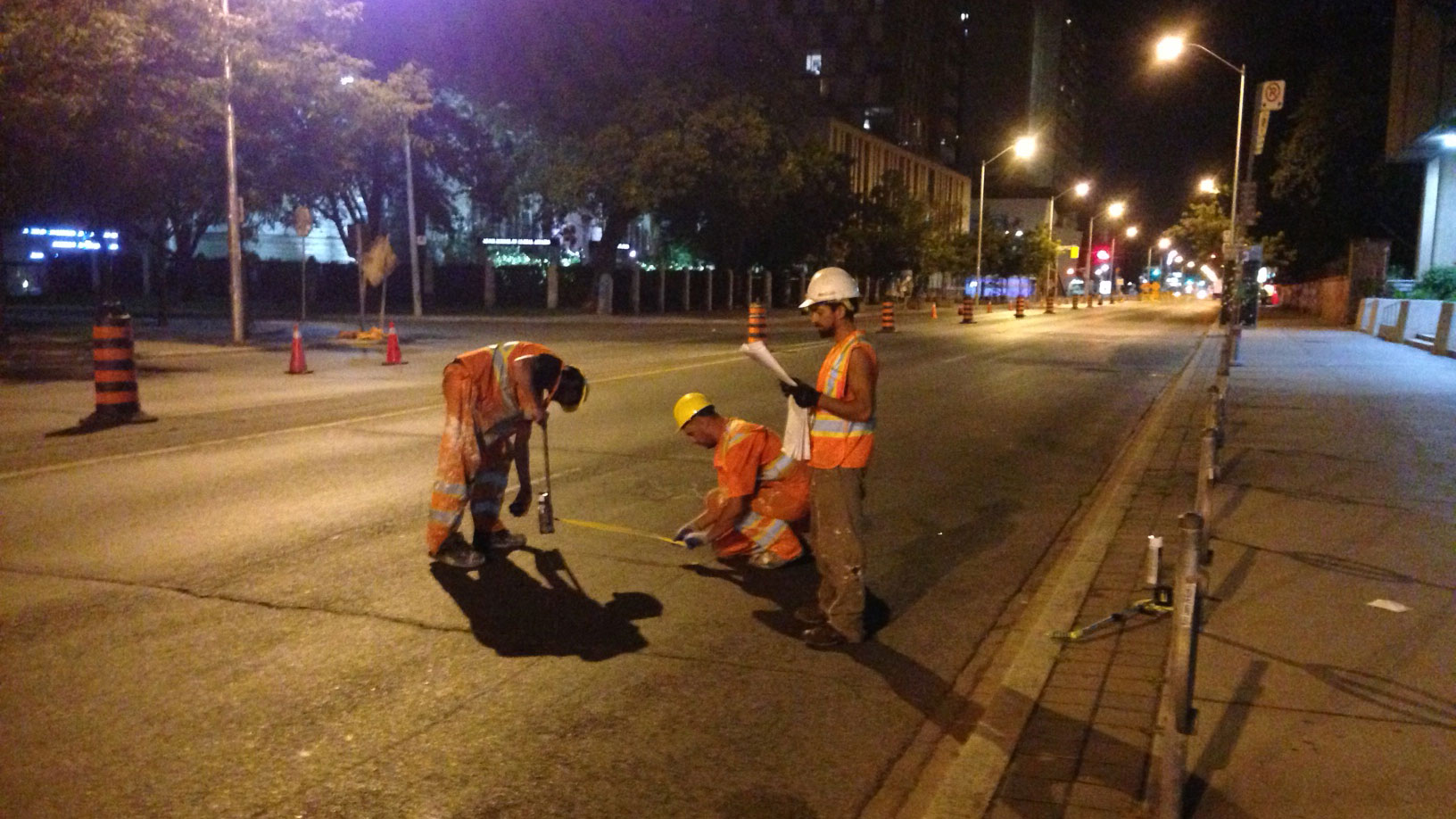 New separated bicycle lanes being installed on a portion of Bloor Street West on Aug. 2, 2016. CITYNEWS/Bertram Dandy