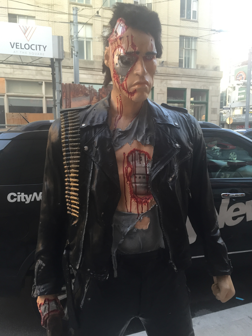 This Terminator prop caused a gun scare, found by CityNews cameraman Bert Dandy on Aug. 4, 2016. CITYNEWS/Diana Pereira