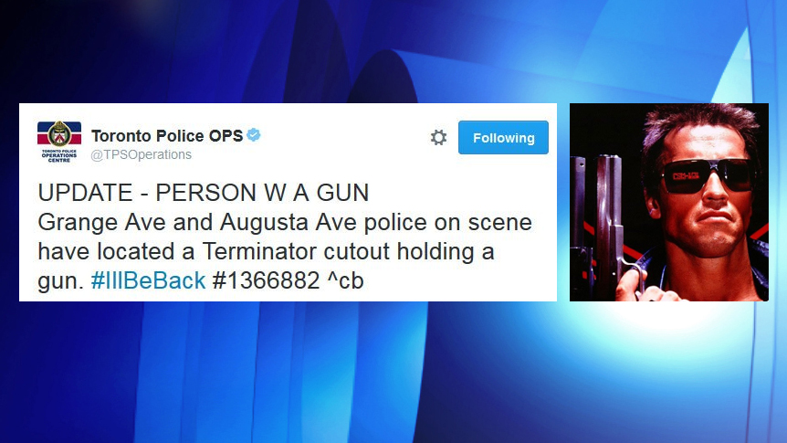 Toronto police tweet about the 'Terminator' cutout on Aug. 3, 2016. (Photo of Arnold added by CityNews) Photo via Twitter/@TPSOperations and IMDB