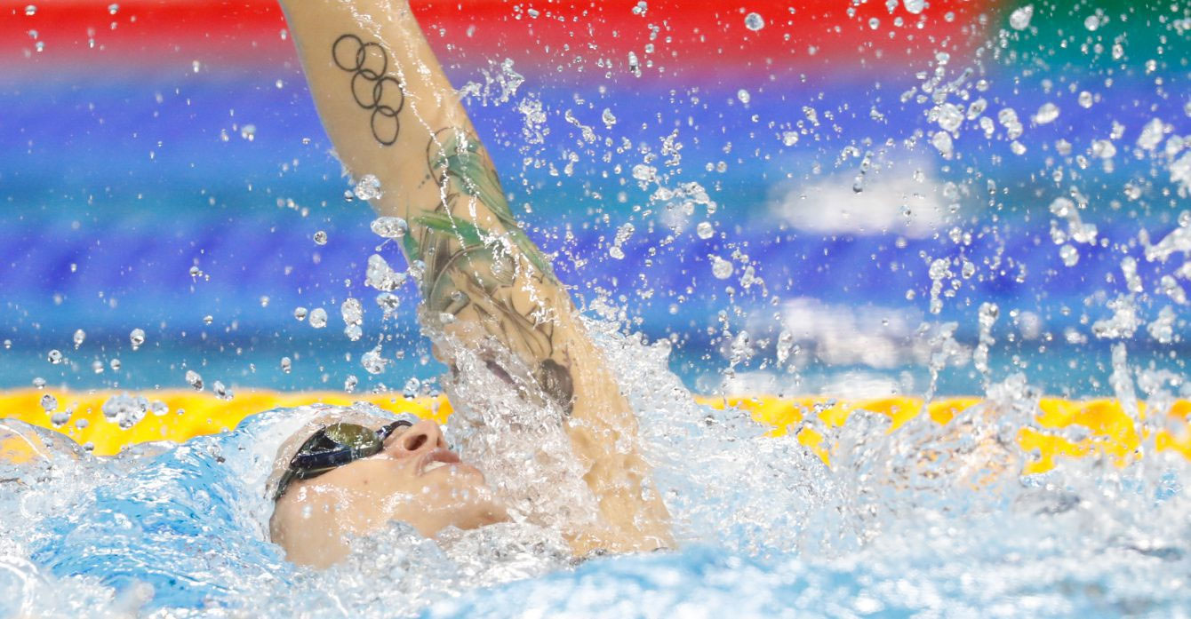 Canada's Hilary Caldwell competes in the women's 200-meter backstroke final during the swimming competitions at the 2016 Summer Olympics, Thursday, Aug. 11, 2016, in Rio de Janeiro, Brazil. CANADIAN OLYMPIC TEAM