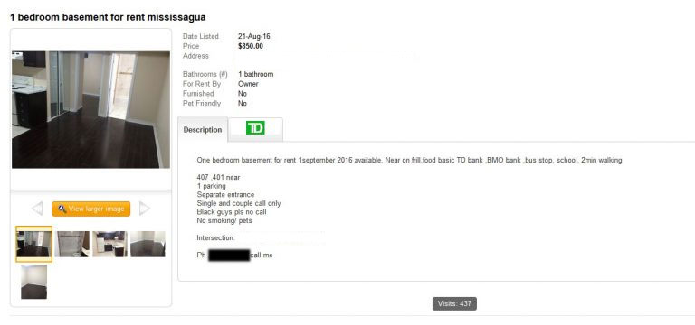 A screen grab taken from Kijiji.ca showing an advertisment for a one bedroom apartment saying that black guys should not inquire.