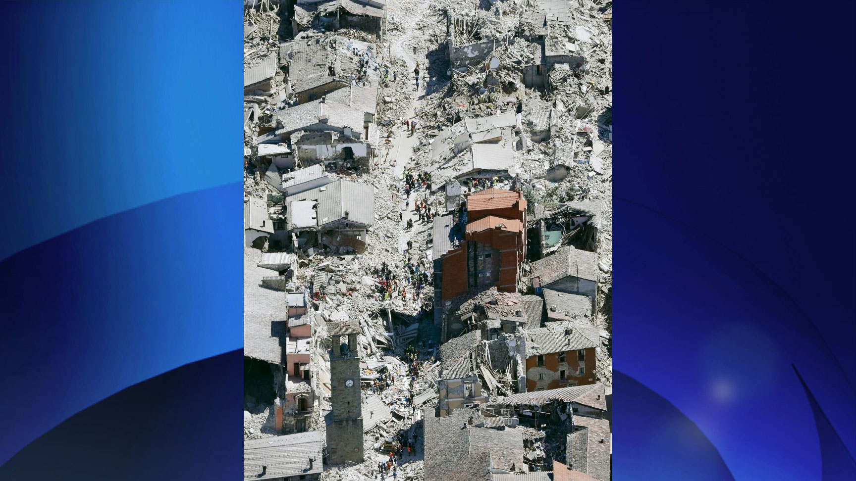 This aerial photo shows the historical part of the town of Amatrice, central Italy, after an earthquake on Aug. 24, 2016. THE ASSOCIATED PRESS/Gregorio Borgia