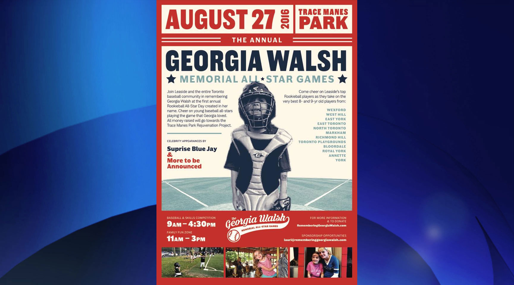 The poster for the Georgia Walsh Memorial Games, which take place on Aug. 27, 2016. Photo via rememberinggeorgiawalsh.com.