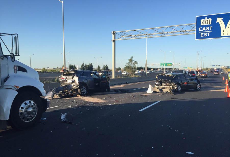 Elderly man killed in seven vehicle crash on Hwy 401