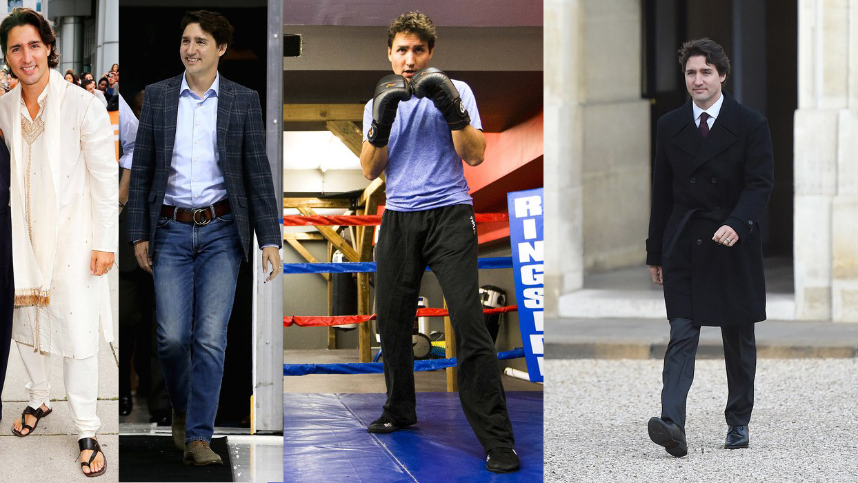Four photos of Justin Trudeau from Vanity Fair's best-dressed list, September 2016.