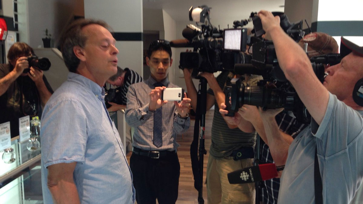 Marijuana activist Marc Emery speaking to reporters at his Cannabis Culture shop on Church Street on Sept. 9, 2016. CITYNEWS/Gary Chow