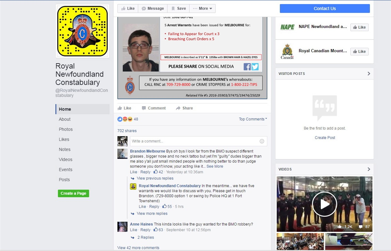 Chatty Newfoundland fugitive responds to police 'wanted' posting on