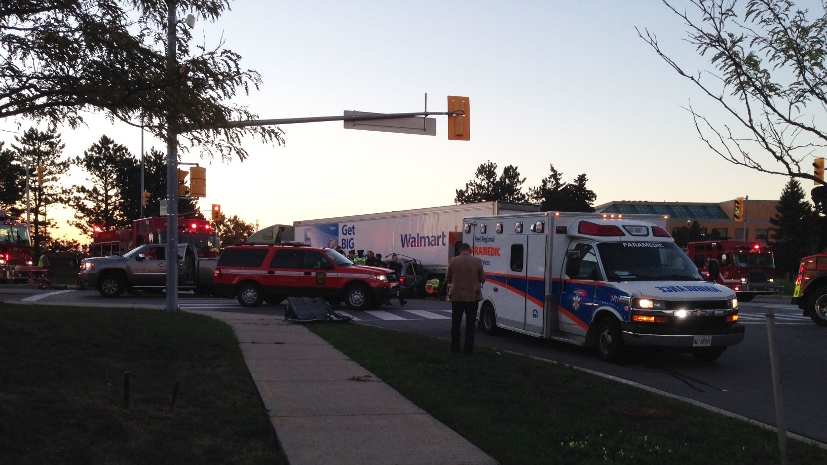 Emergency crews at the scene after a two-vehicle crash on Derry Road in Mississauga on Sept. 16, 2016. CITYNEWS/Bertram Dandy