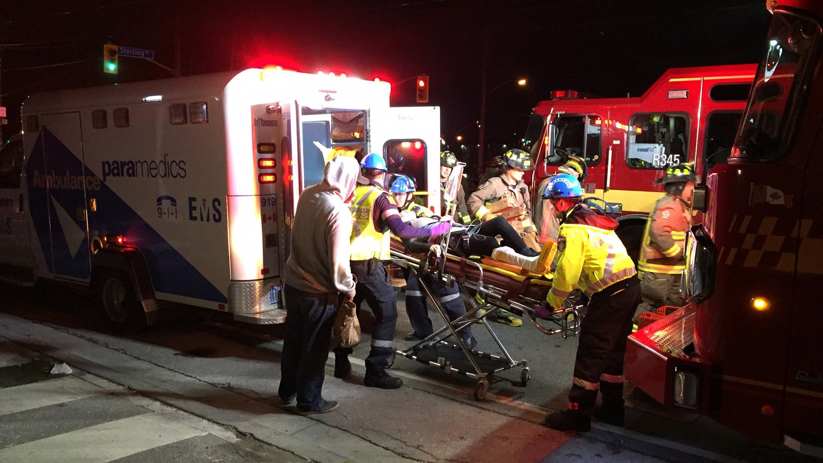 A woman is loaded into an ambulance after a car crash on Sept. 30, 2016. CITYNEWS/Bahaa Attia