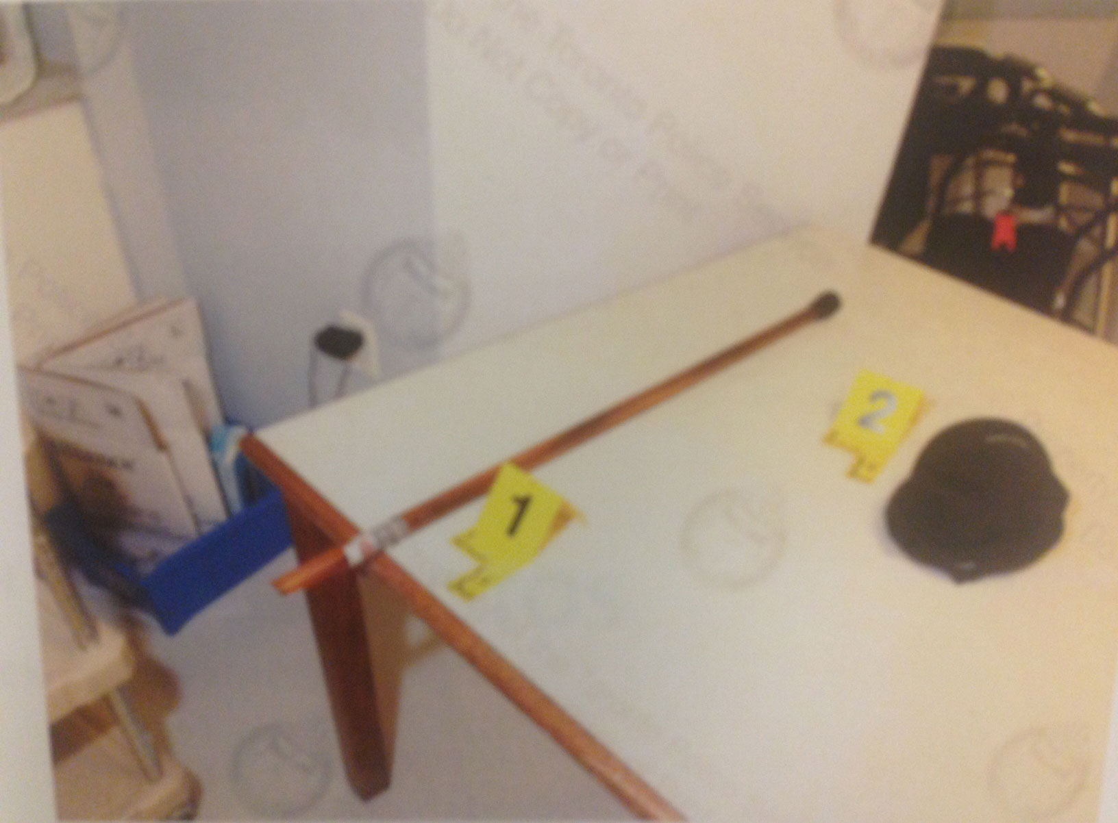 The cane the suspect allegedly used to attack two fellow residents at Wexford Residence, a long-term care home in Toronto, on March 13, 2013 (court documents).