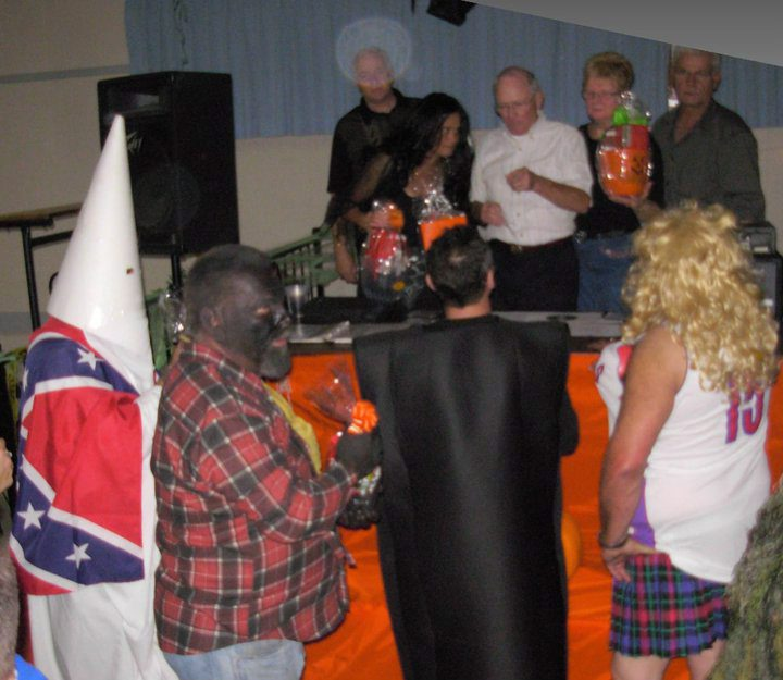 A man dressed in a KKK robe, complete with hood and a Confederate flag on his back led another man in blackface around by a rope tied in a noose around his neck at the Halloween party in Campbellford, Ont., on Saturday October 30, 2010. A witness said the act was awarded top honours. So far it seems unlikely criminal charges will be laid, but the investigation is ongoing. A photo of the two showing the noose around the neck of the man in blackface was splashed across websites and TV broadcasts. THE CANADIAN PRESS/HO