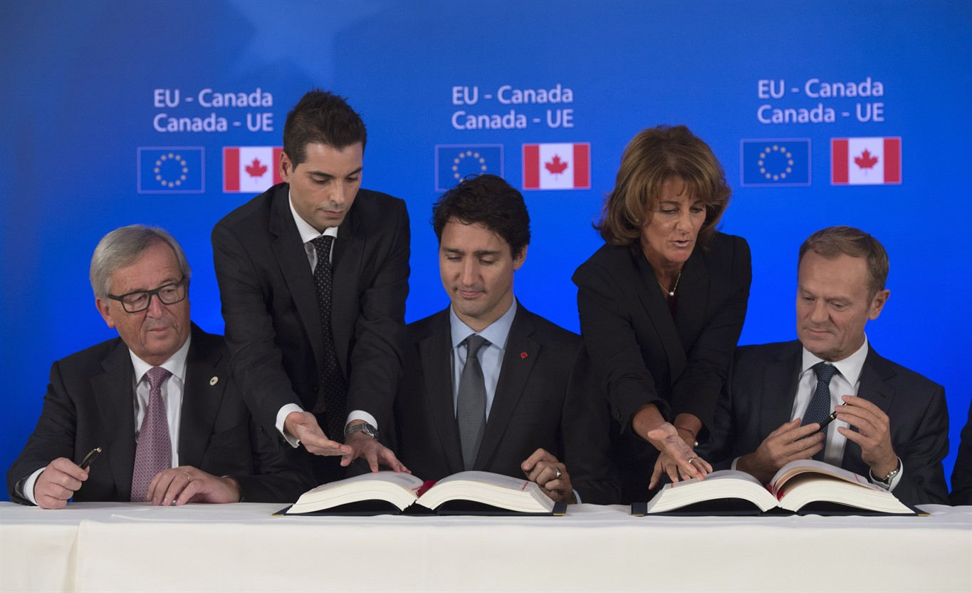 Trudeau says work is just beginning on canada eu free trade deal canadian prime minister justin trudeau participates in the comprehensive economic and trade agreement signing ceremony with president of the european platinumwayz