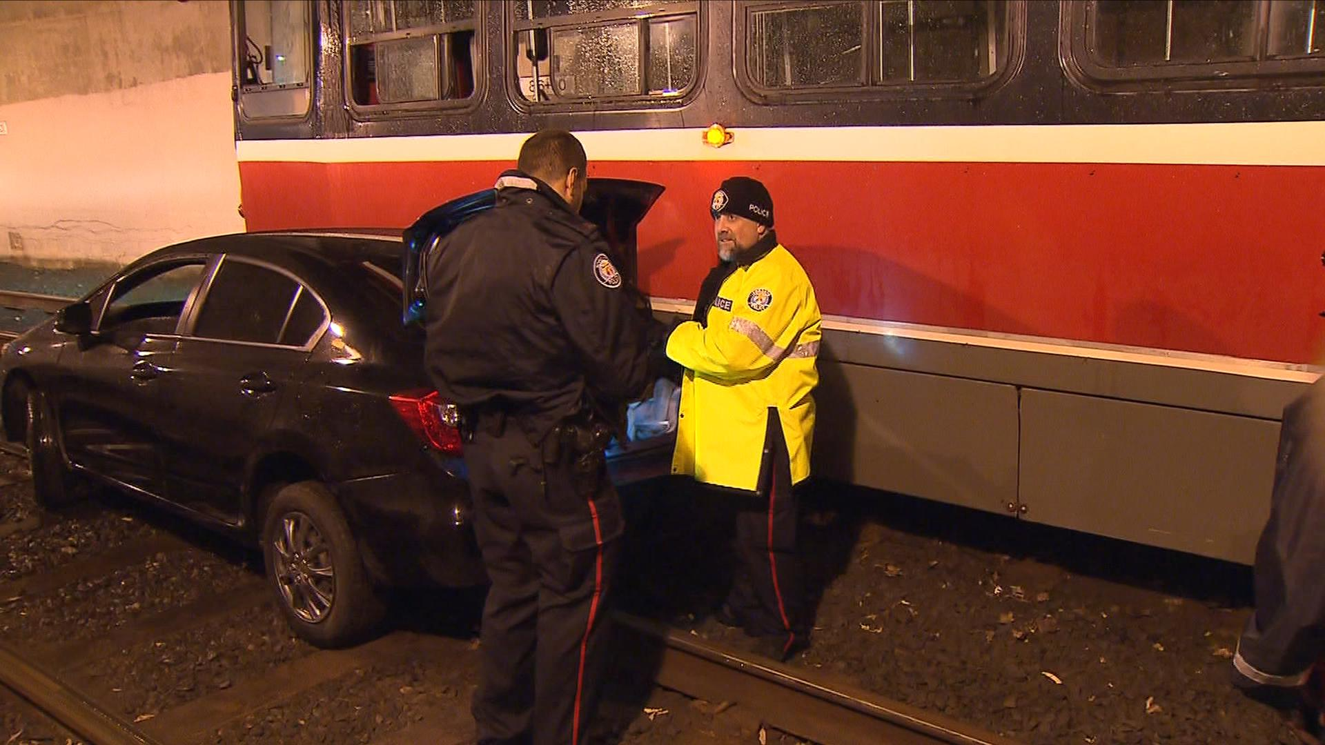 A driver ended up on the Humber Streetcar Loop on Nov. 3, 2016. CITYNEWS