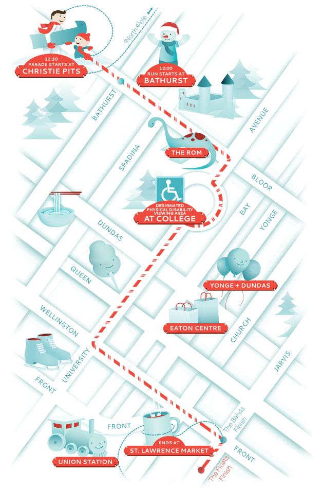 The route for the 2016 Santa Claus Parade. TORONTO SANTA CLAUS PARADE