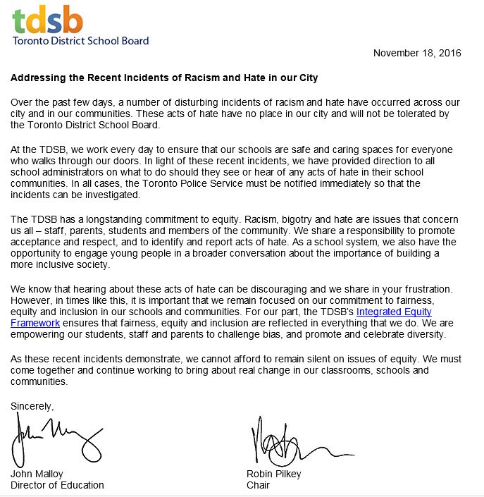 ottawa police toronto school board investigate multiple racist  tdsb letter