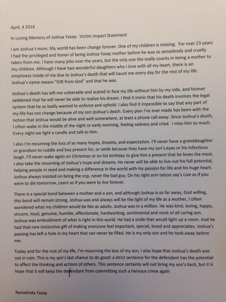 emotional victim impact statements read at danzig sentencing