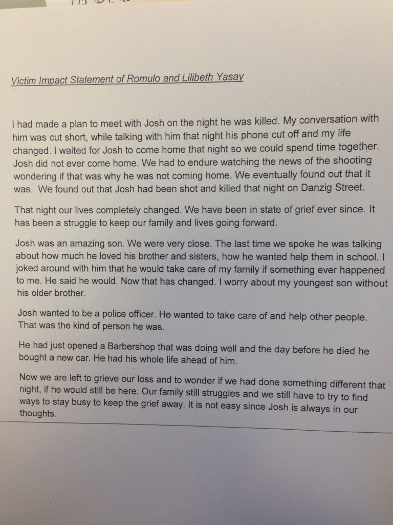 Emotional victim impact statements read at Danzig ...