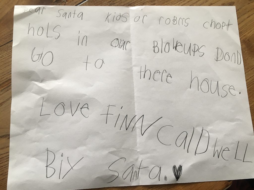 Boy asks santa to put vandals on naughty list after christmas finn2 spiritdancerdesigns Image collections
