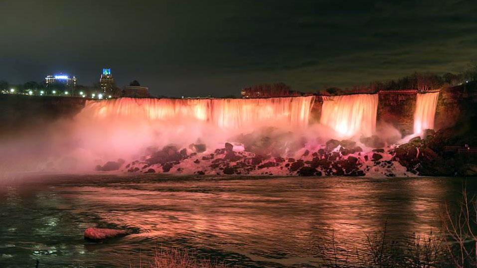 Niagara Falls Lit Up On Dark Winter Nights