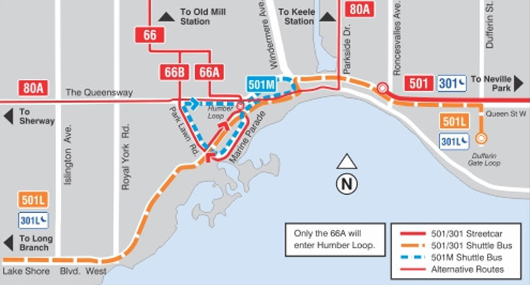 During the track and bridge work, buses will replace 501 Queen streetcars west of Roncesvalles Avenue, on The Queensway and Lake Shore Boulevard. TTC