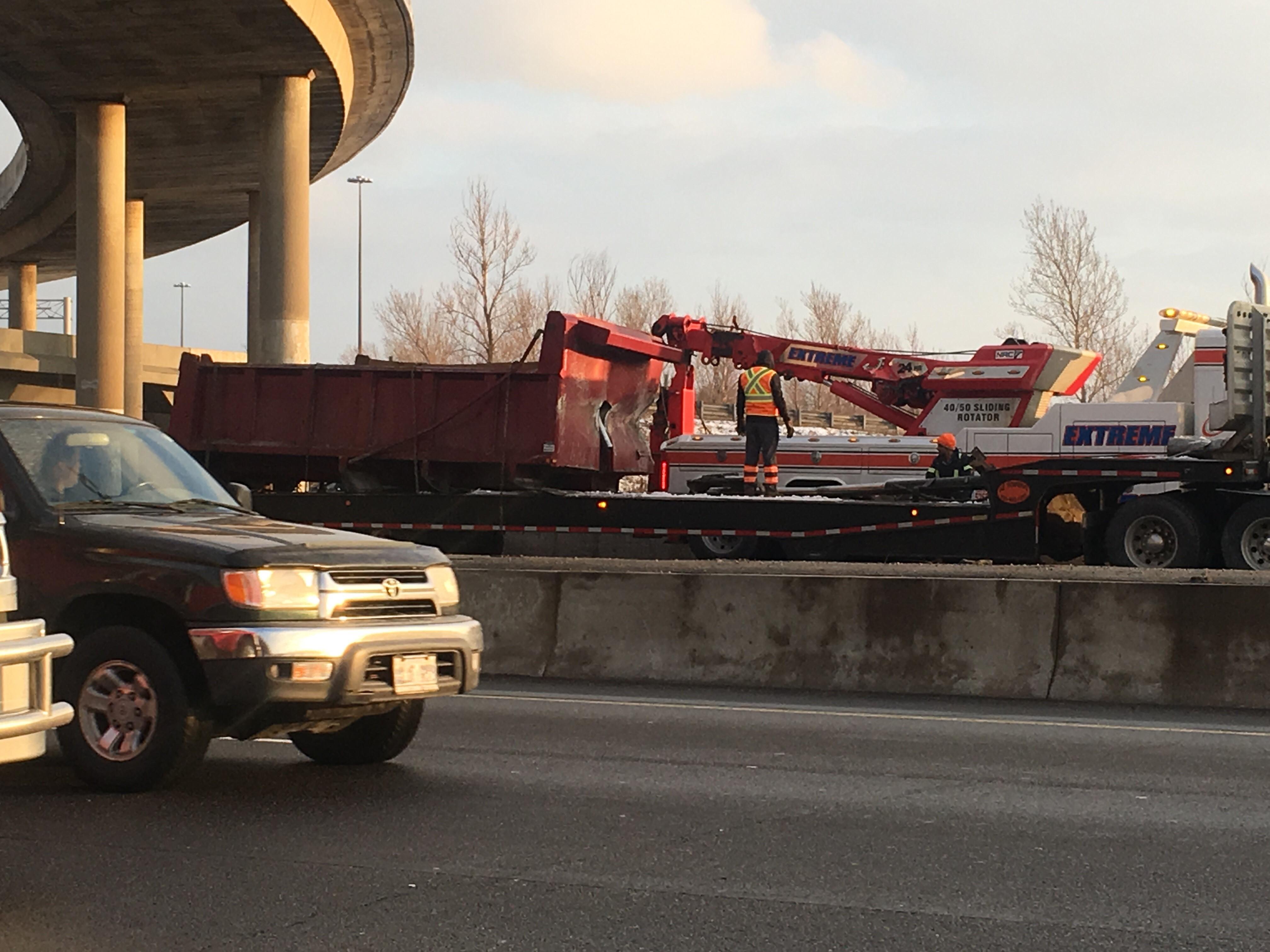 Dump truck box on the Highway 401 after crashing into Highway 400, Dec. 29, 2016. CITYNEWS/Ginella Massa