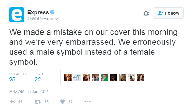 The Washington Post apologized for using the wrong symbol on a cover article on Feb. 5, 2016.