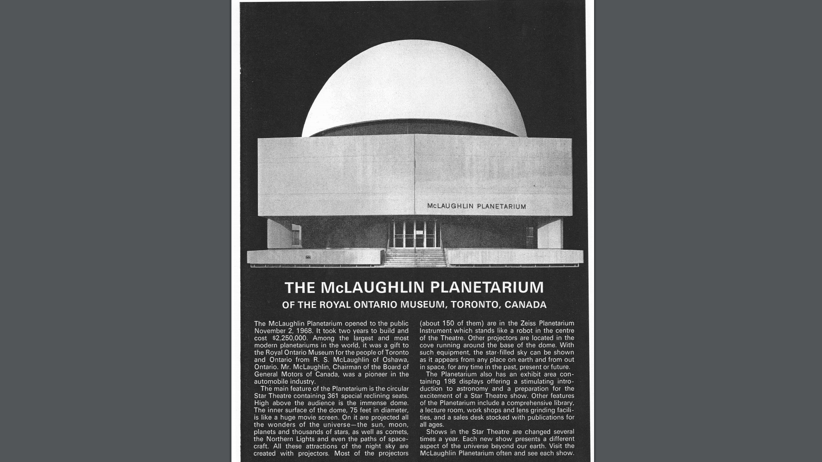 The McLaughlin Planetarium is seen in a 1969 brochure, taken from the Royal Astronomical Society of Canada website. RASC.CA