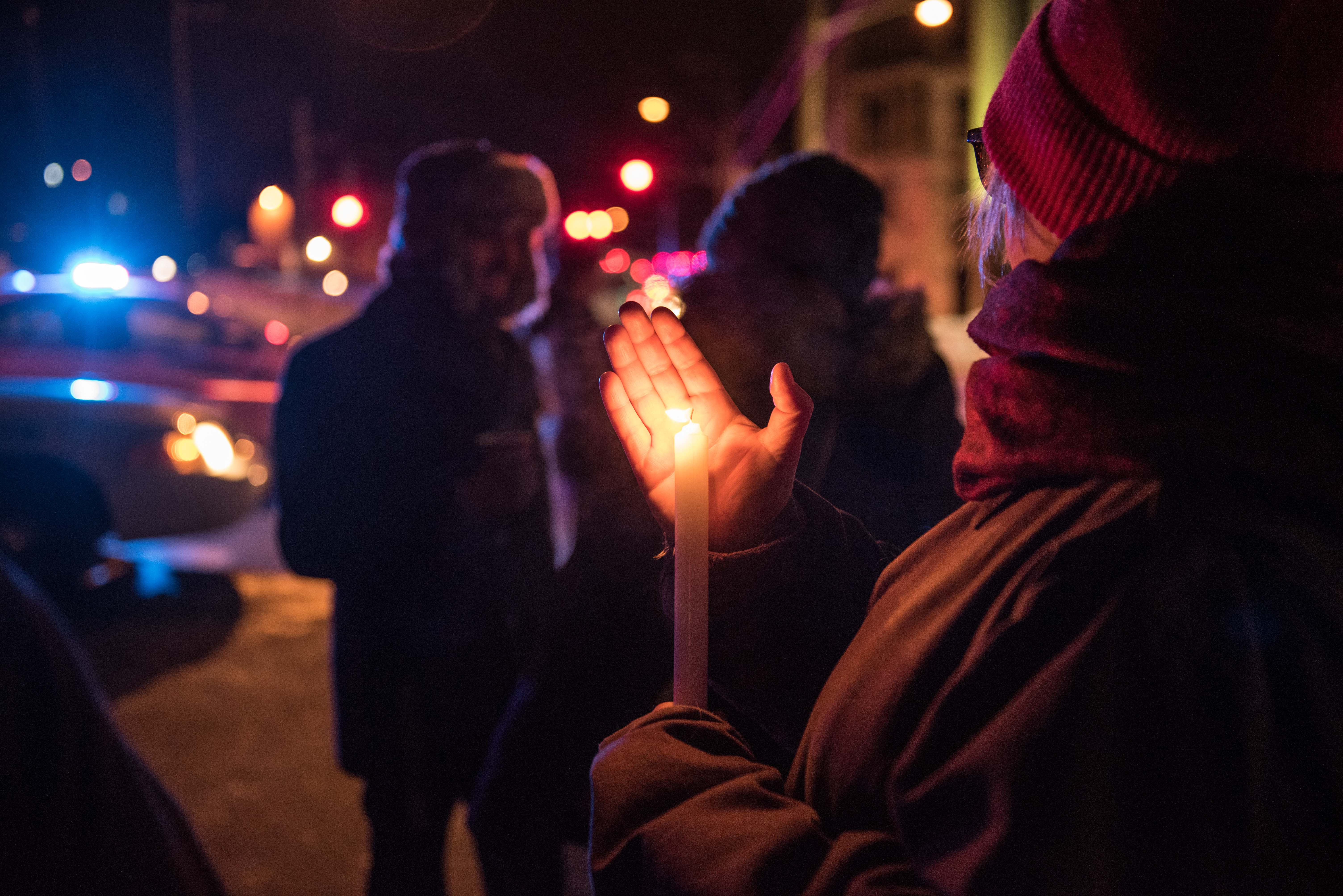 People come to show their support after a shooting occurred in a mosque at the Québec City Islamic cultural center on Sainte-Foy Street in Quebec city on January 29, 2017. GETTY IMAGES/AFP/ Alice Chiche