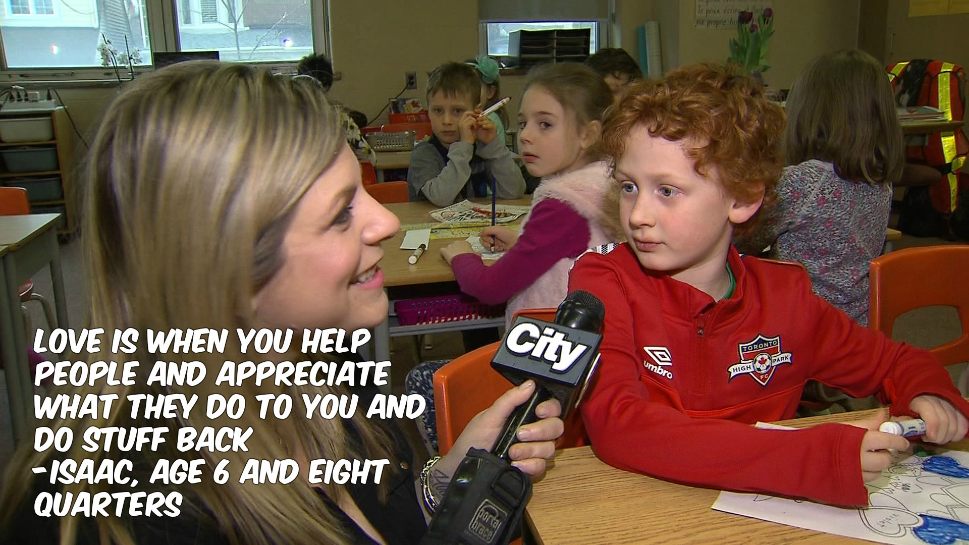 What is love? Isaac, a Grade 1 student, defines it for CityNews reporter Shauna Hunt on Feb. 2, 2017. CITYNEWS