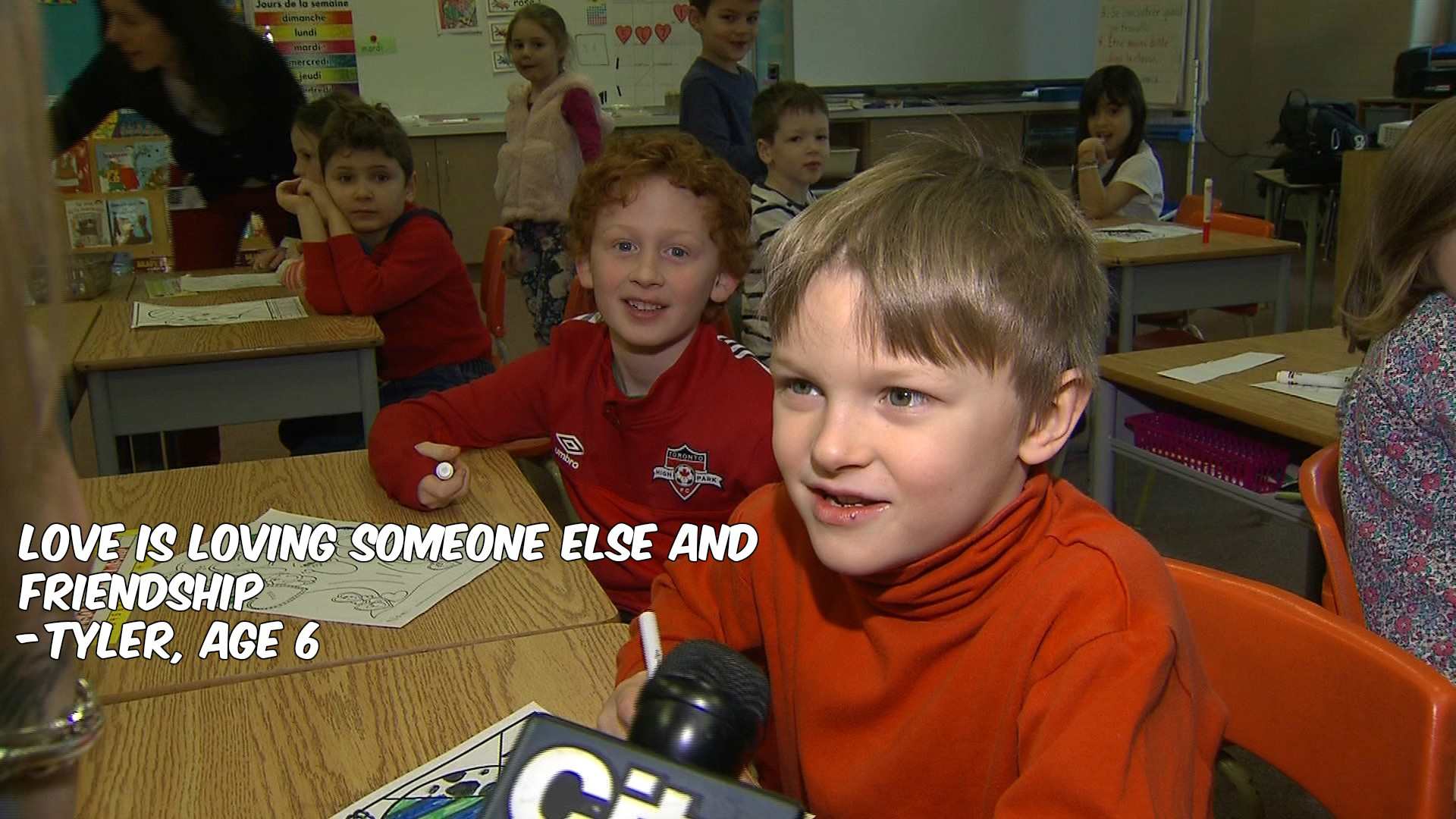 What is love? Tyler, a Grade 1 student, defines it for CityNews reporter Shauna Hunt on Feb. 2, 2017. CITYNEWS