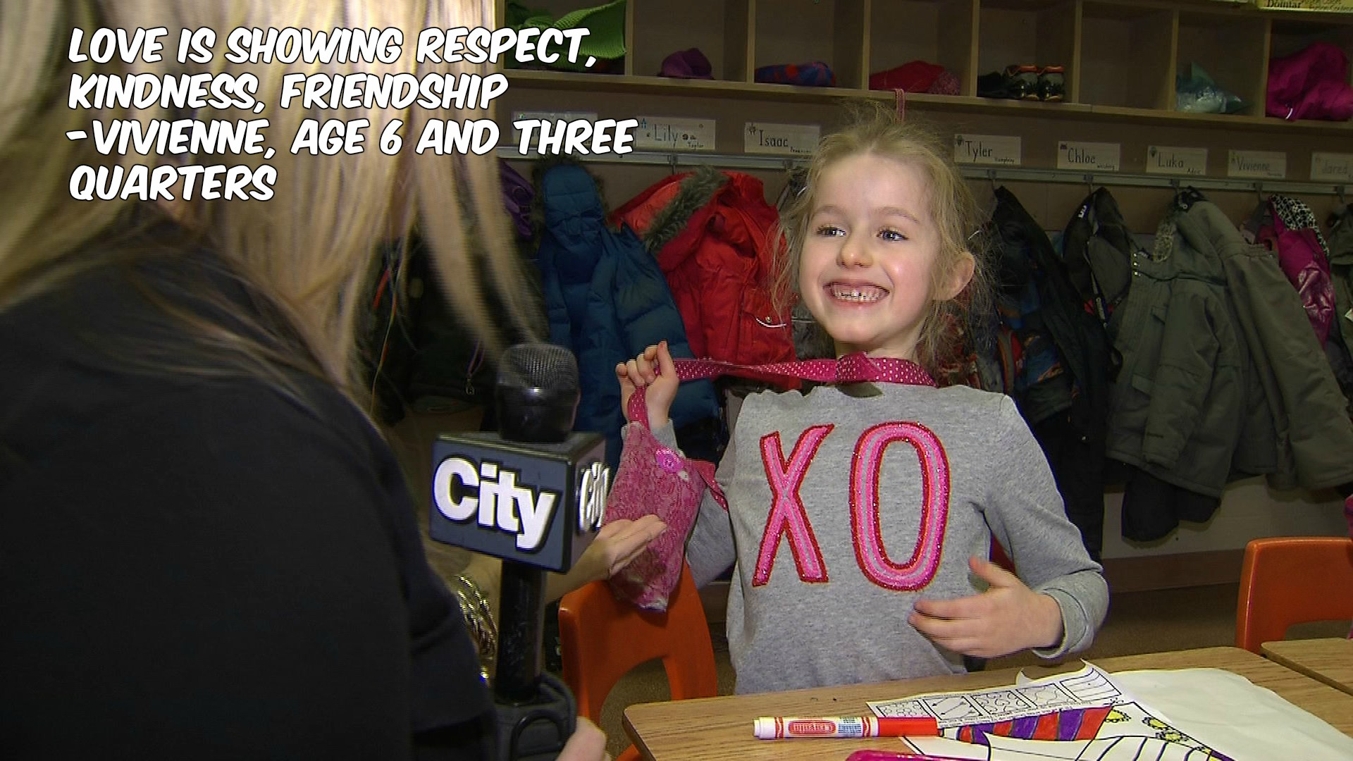 What is love? Vivienne, a Grade 1 student, defines it for CityNews reporter Shauna Hunt on Feb. 2, 2017. CITYNEWS
