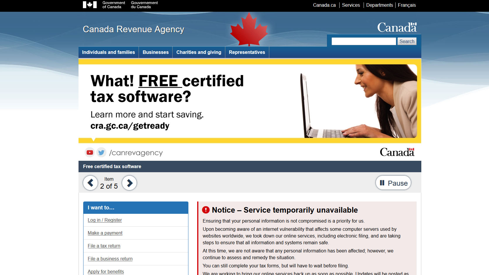 The Canada Revenue Agency Website Was Temporarily Offline As Seen In This Screengrab From March   Citynews