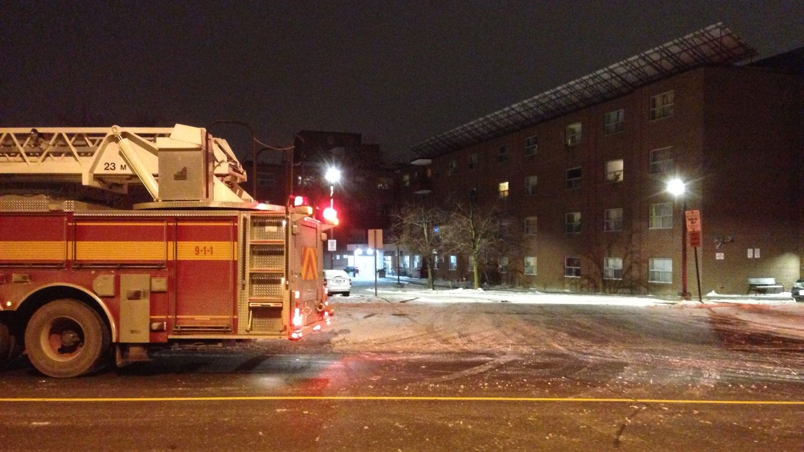 A two-alarm fire broke out at a Toronto Community Housing building on Arleta Avenue on March 15, 2017. CITYNEWS/Bertram Dandy