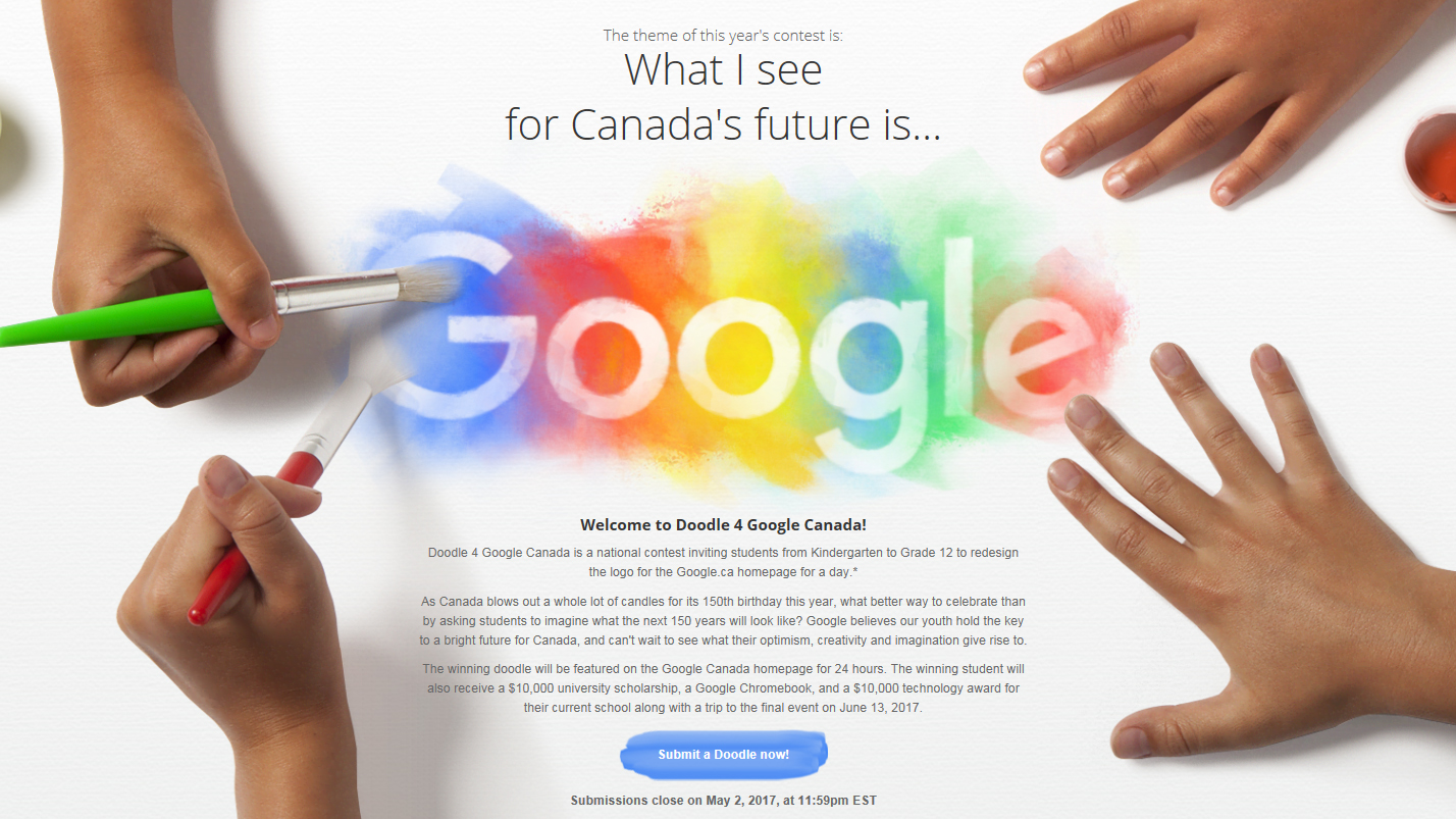 Google themes doodle - Canadian Students Asked To Design Google Doodle For Canada S 150th Birthday