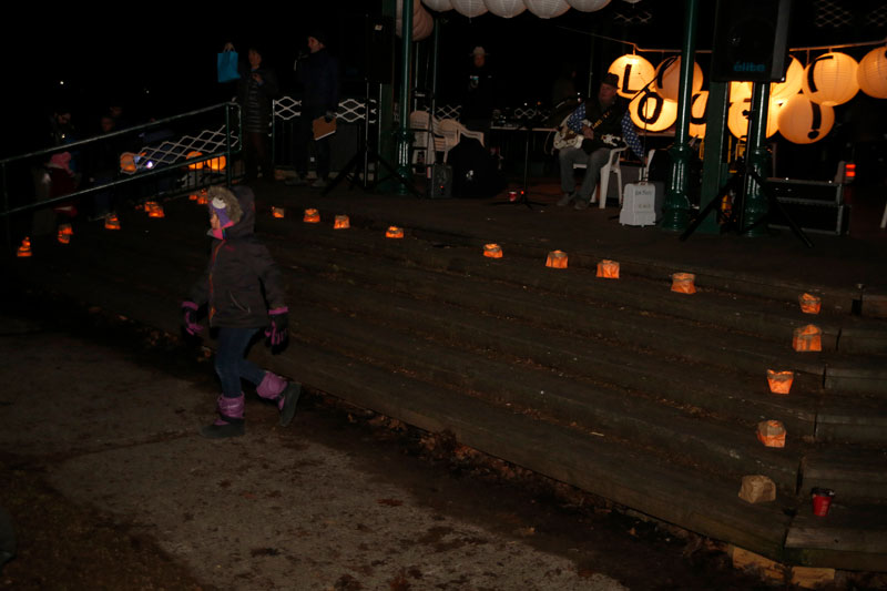 Acoustic music being played as people gather for Lights Out in the Beach during Earth Hour. Photo via beachesliving.ca.