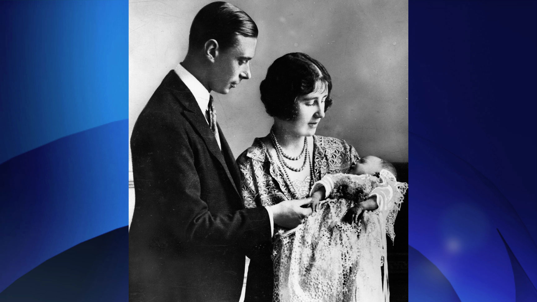 Future King and Queen, George, Duke of York (1895-1952) and Elizabeth Duchess of York (1900-2002) holding their first child, future Monarch Princess Elizabeth at her christening ceremony in May, 1926. GETTY IMAGES/Central Press