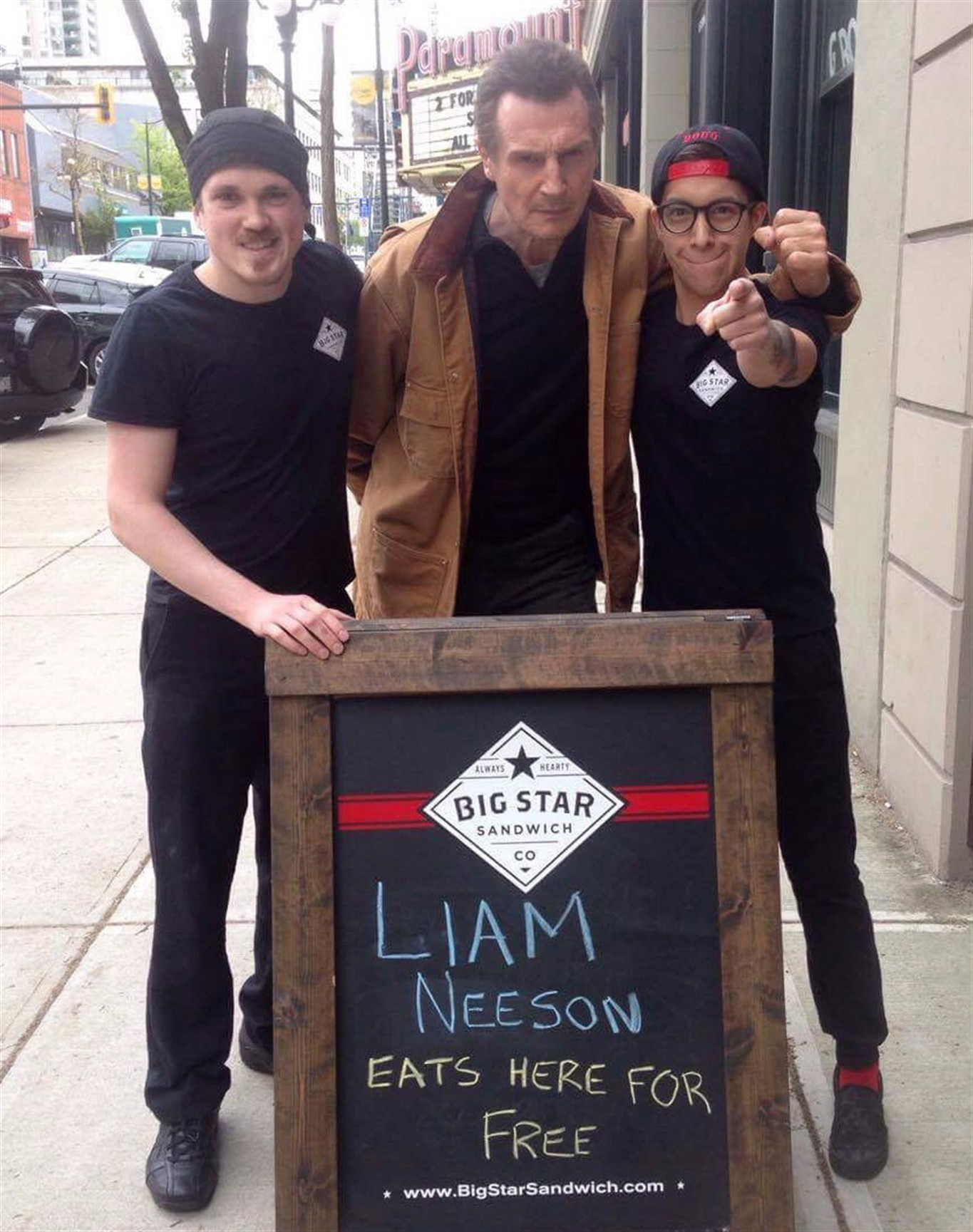 A Sandwich Shop Made A Sign For Liam Neeson & He Turned Up