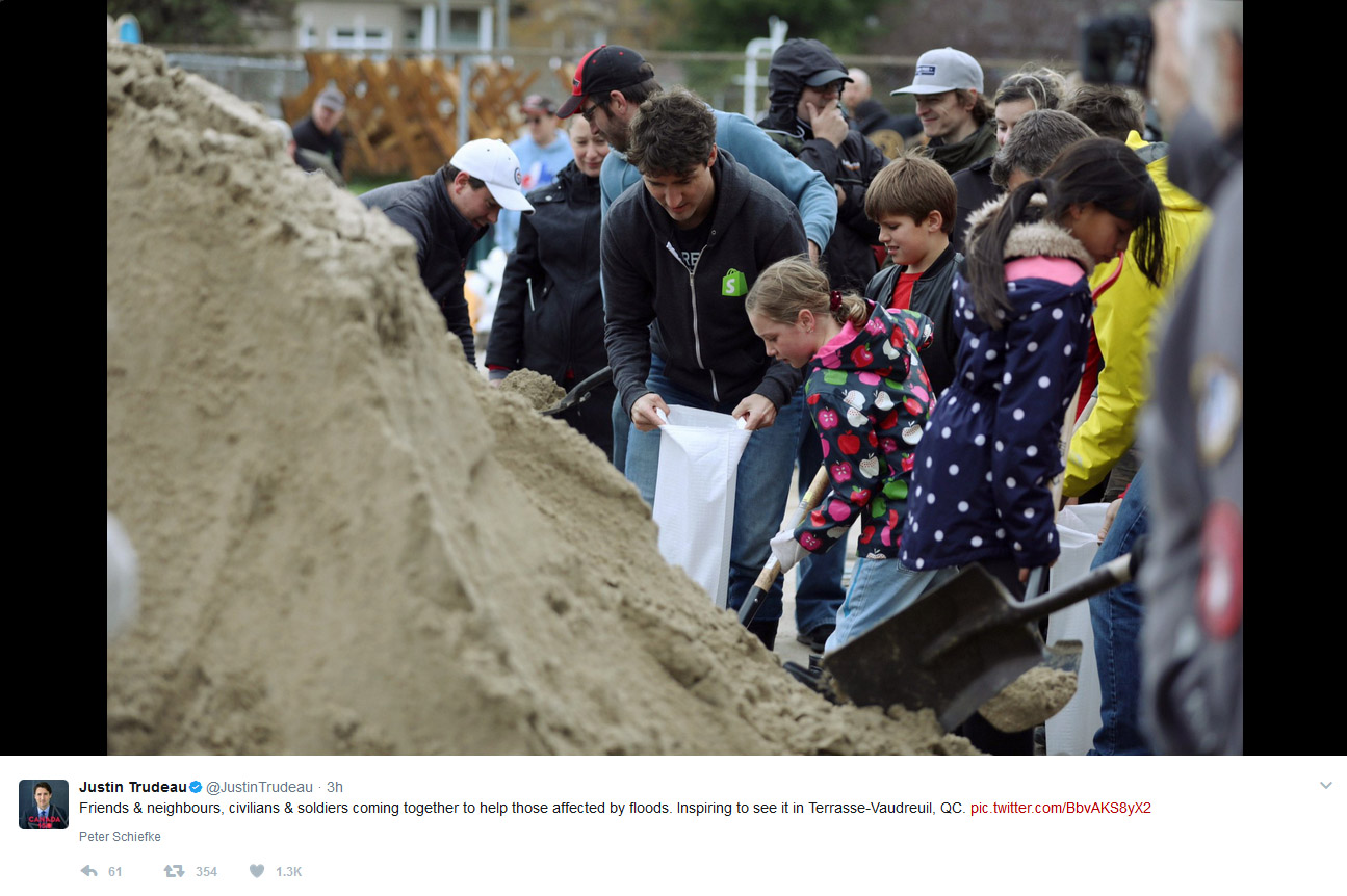 Prime Minister Justin Trudeau tweet on Quebec flooding