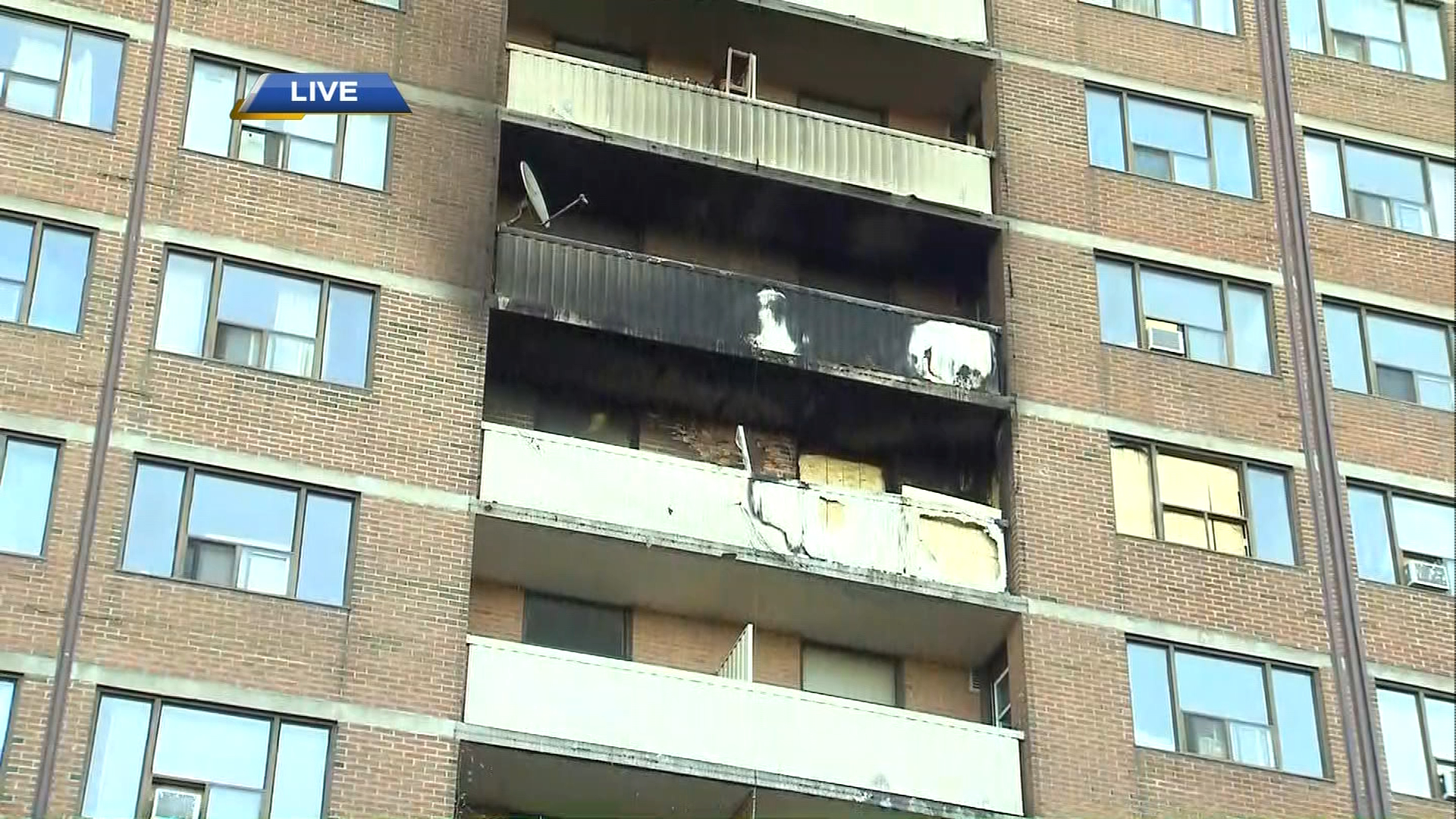 A charred balcony can be seen at an apartment building on Dunn Avenue after a fire on June 5, 2017. CITYNEWS