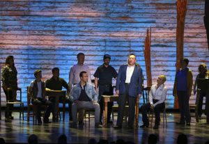 "The cast of ""Come From Away"" performs at the 71st annual Tony Awards on Sunday, June 11, 2017, in New York. (Photo by Michael Zorn/Invision/AP)"
