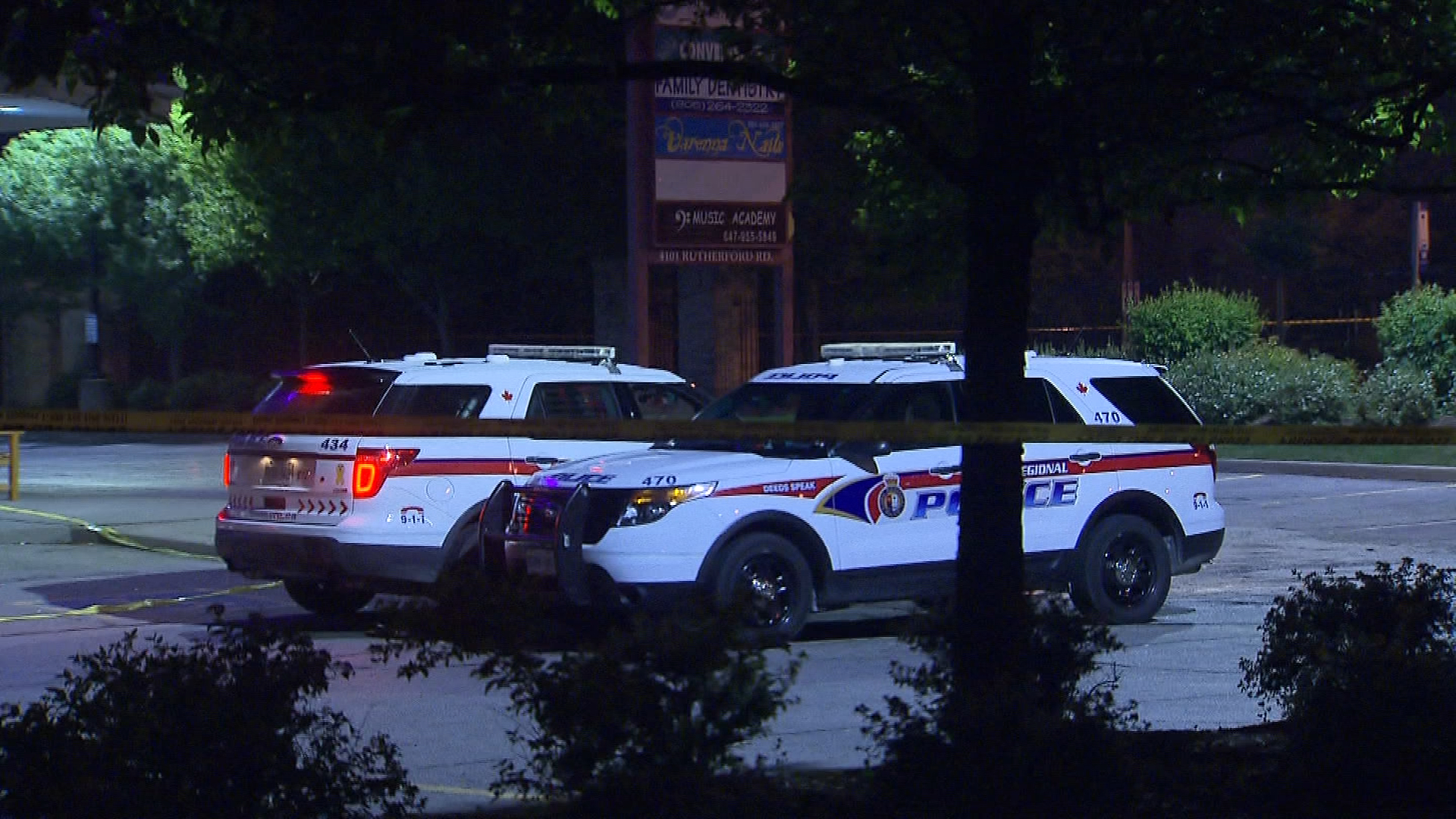 Police investigate a shooting at the Motorino Restuarant on Rutherford Road on July 10, 2017. CITYNEWS