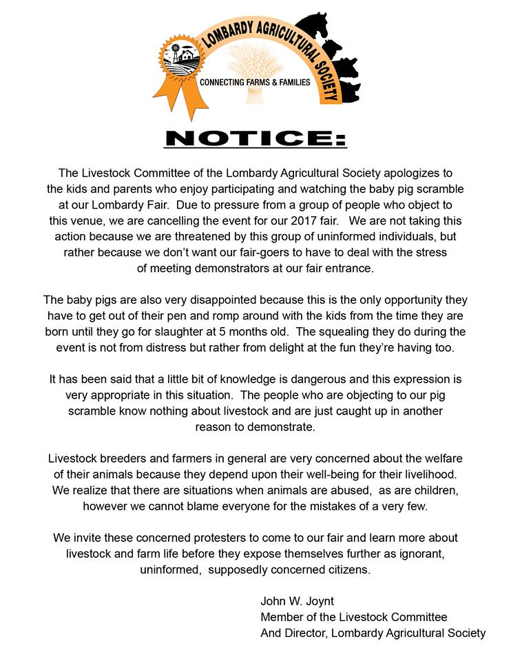 Statement from John W. Joynt, director of the Lombardy Agricultural Society, on the pig scramble. Image Credit: Facebook